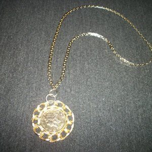 VINT GOLDTONE & SILVERTONE COIN NECKLACE SAYS 1894